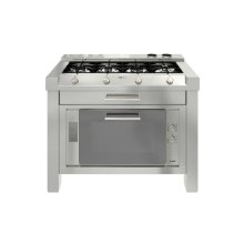 Freestanding cooking centre in Stainless steel - 1200 - 4 burners in line+ MF 90 cm oven