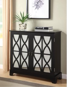 Black Console with Mirrored Glass Doors