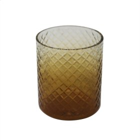 "6"" Cut Glass Candle Holder, Amber"