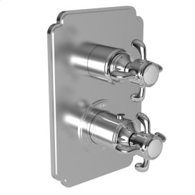 """Uncoated Polished Brass - Living 1/2"""" Square Thermostatic Trim Plate with Handle"""