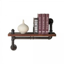 "Armen Living 24"" Montana Industrial Pine Wood Floating Wall Shelf in Gray and Walnut Finish"