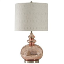 Rose Mercury Glass Transitional Lamp with Designer Fabric Shade
