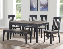 6 PIECE SET (TABLE WITH 4 CHAIRS AND BENCH)