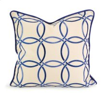IK Catina Blue Embroidered Linen Pillow w/ Down Fill