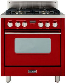 "High Gloss Red 30"" Gas Range with Convection Oven"