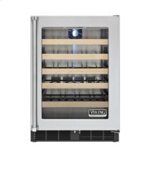 """24"""" Undercounter Wine Cellar, Clear Glass, Right Hinge/Left Handle"""