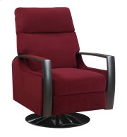 Swivel Recliner Kd Burgandy W/black Wood Arms Product Image