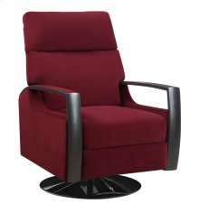 Swivel Recliner Kd Burgandy W/black Wood Arms