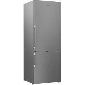 "27"" 15 cu ft bottom freezer fridge with auto ice maker, stainless"