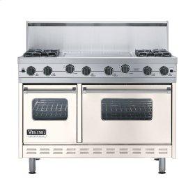 """Oyster Gray 48"""" Sealed Burner Range - VGIC (48"""" wide, four burners 24"""" wide griddle/simmer plate)"""