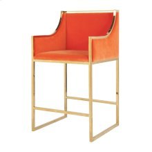 Brass Counterstool With Orange Velvet Upholstery