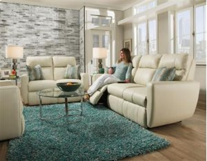 Double Reclining Sofa with Power Headrest & 2 Pillows