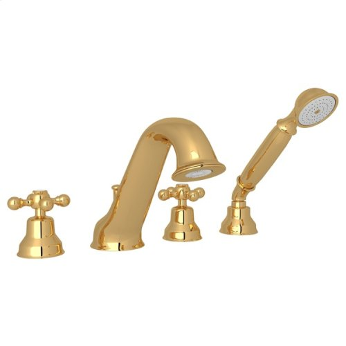 Italian Brass Arcana 4-Hole Deck Mount Tub Filler & Handshower with Arcana Series Only Cross Handle