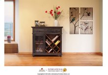 Bookcase/Wine Rack, 2 drawers, glass holder behind door * Removable shelf, Black finish