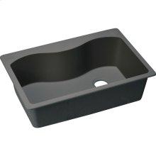 """Elkay Quartz Classic 33"""" x 22"""" x 9-1/2"""", Single Bowl Drop-in Sink, Black"""