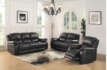 8028 Black Manual Reclining Sofa