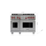"""WOLF48"""" Dual Fuel Range - 6 Burners and Infrared Griddle"""