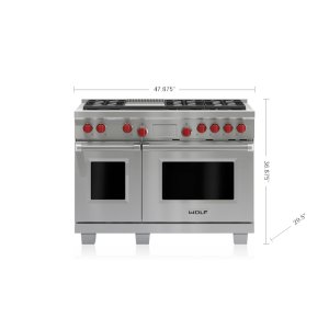 "Wolf  48"" Dual Fuel Range - 6 Burners and Infrared Griddle"