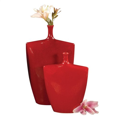 Mottled Scarlet Red Glaze Ceramic Vases - Set of 2