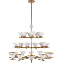 Visual Comfort KW5513AB/WM-WHT Kelly Wearstler Cleo 32 Light 49 inch Antique-Burnished Brass and White Marble Chandelier Ceiling Light