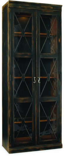Sanctuary Two-Door Thin Display Cabinet - Ebony
