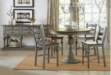 Round Counter Table Base - Weathered Grey/Oak Finish