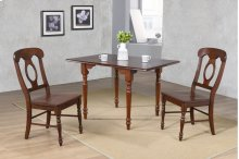 Sunset Trading 3 Piece Drop Leaf Dining Set in Chestnut with Napoleon Chairs