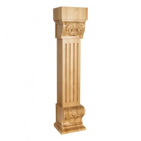 "8"" x 7"" x 36"" Acanthus Fluted Wood Fireplace / Mantel Corbel with Shell Detail, Species: Rubberwood."