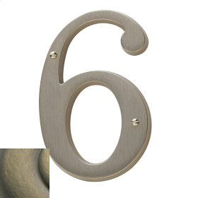 Satin Brass and Black House Number - 6