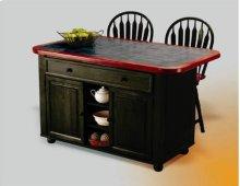 Sunset Trading Antique Black Kitchen Island with Cherry Trim / Inlaid Gray Textured Granite Top