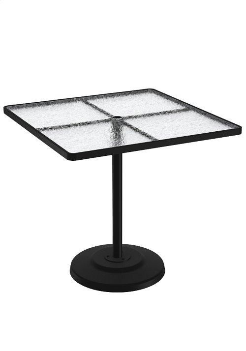 "Acrylic 42"" Square KD Pedestal Bar Umbrella Table"