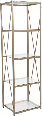 """Mar Vista Collection 4 Shelf 64""""H Cross Brace Glass Bookcase in Matte Gold Product Image"""