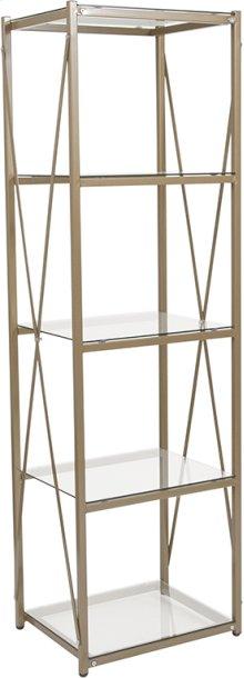 Mar Vista Collection Glass Storage Shelf with Matte Gold Frame