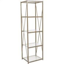 "Mar Vista Collection 4 Shelf 64""H Cross Brace Glass Bookcase in Matte Gold"