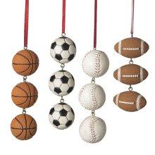 Sports Ball Swag Ornament (4 asstd).