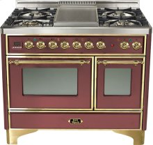 "Burgundy 40"" French Top Majestic Techno Dual Fuel Range"