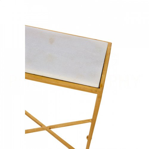 Chino Side Table in Gold with Marble Top