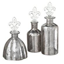 Mercury Glass Fleur de Lis Bottle set/3.