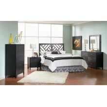 Grove Transitional Black Queen Headboard
