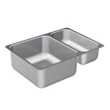 "2000 Series 24-3/4""x18"" stainless steel 20 gauge double bowl sink"