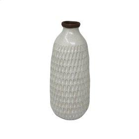 "Ceramic 12.25"" Hammered Vase, Ivory"