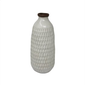 "Ceramic 12.25"" Hammered Vase, Ivory"