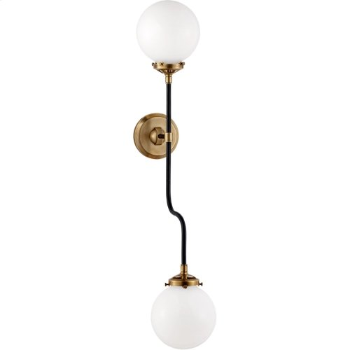 Visual Comfort S2022HAB-WG Ian K. Fowler Bistro 2 Light 6 inch Hand-Rubbed Antique Brass Decorative Wall Light in White Glass