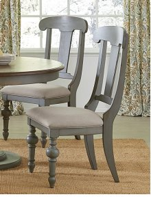 Slat Dining Chair (2/Ctn) - Putty/Oak Finish