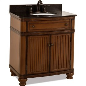 """32"""" vanity with Walnut finish, simple bead board doors, and curved shape with preassembled top and bowl."""
