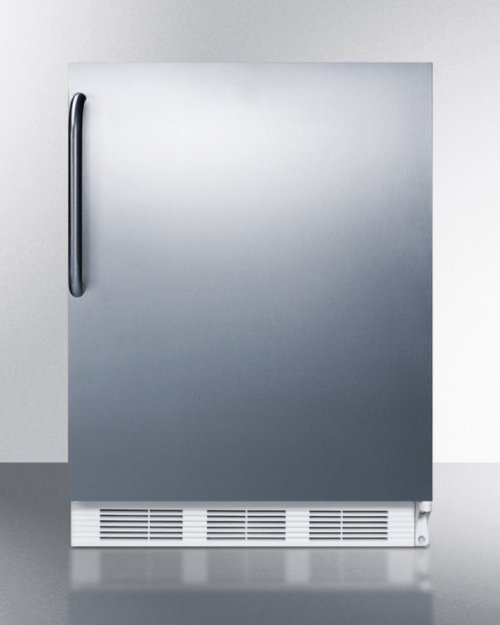 ADA Compliant Built-in Undercounter Refrigerator-freezer for Residential Use, Cycle Defrost W/deluxe Interior, Ss Door, Tb Handle, and White Cabinet