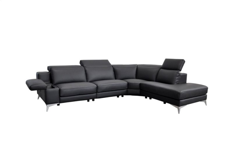 Vgnthypnoseblk In By Vig Furniture Neptune Nj Estro Salotti Hypnose Italian Modern Black Leather Sectional Sofa W Recliner