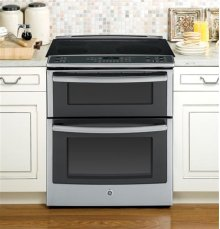 """Profile™ Series 30"""" Slide-In Double Oven Electric Convection Range"""