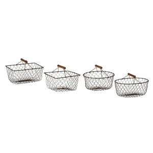 Chicken Wire Mini Basket with Wood Handle (4 pc. set)