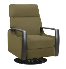 Swivel Recliner Kd Khaki W/black Wood Arms